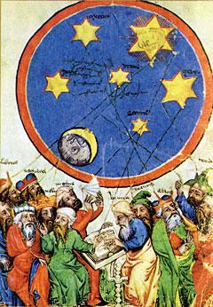 Двенадцать астрологов-язычников, включая поэта Вергилия, философов Сенеку иАристотеля, заняты толкованием звездного неба. Книга порочеств