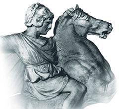 Александр Македонский вшлеме Геракла (голова льва) наБукефале. Саркофаг изСидона