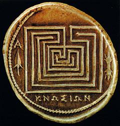 Критские монеты с изображением лабиринта Дедала. 280 год до н.э.