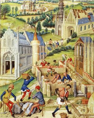 Жирар из Русильона. Миниатюра с изображением строительства двенадцати церквей в честь святых апостолов. Франция, 1448