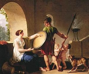 Спартанская женщина, провожающая сына