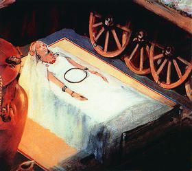 Знаменитое захоронение гальштатской княгини: в кузове четырехколесной колесницы лежала молодая женщина с золотой диадемой на голове и огромным количеством украшений тончайшей работы, а в углу стоял огромный бронзовый кратер высотой 164 см и весом 208 кг.