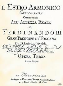 Титульный лист первого сборника концертов Вивальди, названного «Гармоническое вдохновение»