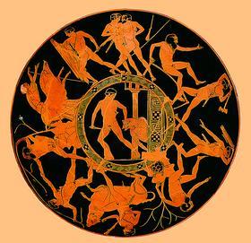 Внутренняя поверхность краснофигурного килика с изображением подвигов Тесея. В центре - убийство Минотавра. 440-430 гг. до. н. э.