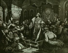 Н. Шустов. Иван III разрывает ханскую грамоту с требованием дани.  Литография XIX века. На троне Ивана III мы видим изображение двуглавого  орла